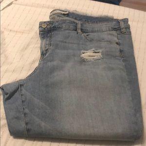 light wash, destructed boyfriend jeans